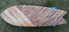 Reclaimed wooden skateboard. Handmade 1 of a kind.