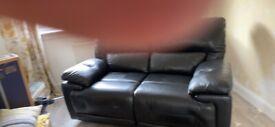 3 &2 seater black leather sofa