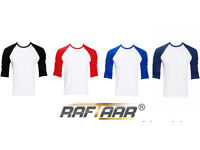 100 x Raftaar® Mens Womens 100% Cotton Lightweight Baseball Raglan Long Sleeve T Shirt Long Tee Top