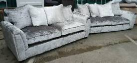 1 DAY SALE!! NEW Designer Glitz 2 x 3 seater Crushed Velvet Sofa Set Suite Silver DELIVERY AVAILABLE