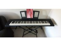 YAMAHA PORTABLE GRAND PIANO NP-30 WITH STAND, SUSTAIN PEDAL, BOX, INSTRUCTIONS
