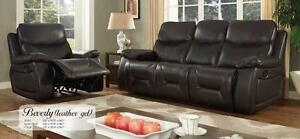 LORD SELKIRK FURNITURE - BEVERLY 3PC RECLINER SET IN LEATHER GEL IN CHOCOLATE