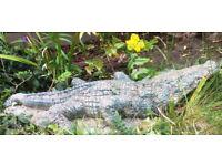 Heavy stone/concrete Alligator Statue / garden ornament - approx 3 ft long (90cm)