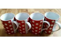 4X Red / White Spot Mugs Cups NEW