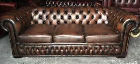 Brown leather 3 seater Chesterfield sofa