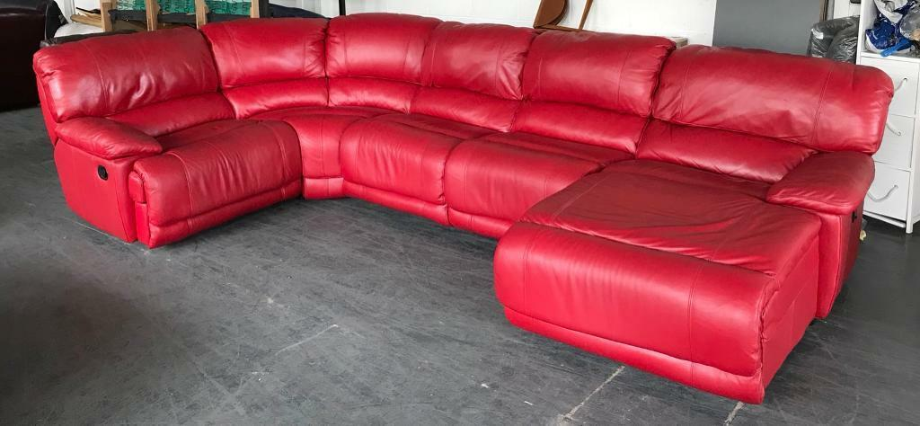 Dfs Huge Red Leather Recliner Corner Sofa Can Deliver