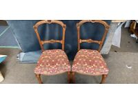 2 antique chairs and lampshade
