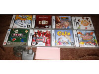 Nintendo DS Lite Pink Handheld System & 8 Games and More