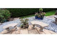 Garden Bench's -PAIR- Stone, Curved - Squirrel pedestal design