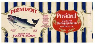 Canned Sockeye Salmon (PRESIDENT Brand, Sockeye Salmon *AN ORIGINAL 1940's TIN CAN LABEL*)