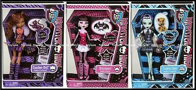 Monster High - Monster High 3 Doll ORIGINAL Favorites CLAWDEEN DRACULAURA & FRANKIE w/ PET Set