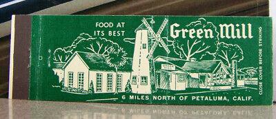 Vintage Matchbook Cover T5 Petaluma California Green Mill Windmill Food At