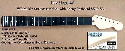 New Upgraded Fender Licensed Strat Neck Ebony Fretboard   Wd Music Sku  Se