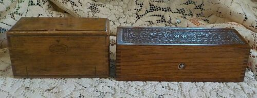 2 Wheeler & Wilson Singer Sewing Machine Oak Boxes accessories / attachments