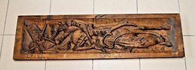 E1 Ancien bois sculpté - Bataille - croisade - chevalier - chasse