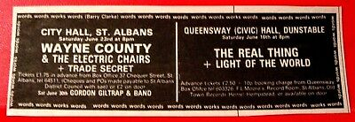 "Wayne County &The Electric Chairs Gig Vintage ORIG '79 Press/Mag ADVERT 4.5""x1.5"