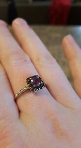 Gold amethyst and tournine ring