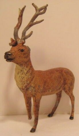 "Old Metal Toy Reindeer Figure 4.25"" Christmas Putz Germany 1925 foot ear missing"