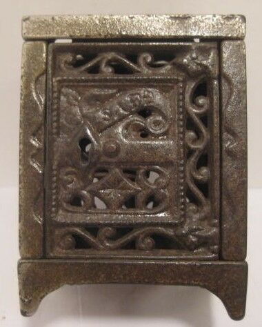Old Antique Filigree Cast Iron Safe Bank Patent 1886 Dollhouse Miniature Too!