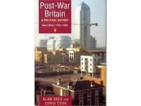 Post War Britain A Political History New Ed. 1945 to 1992 by Sked and Cook £2.50 ONO Plus £2.60 P&P