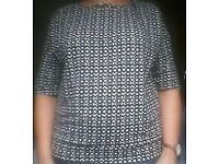 Black and white geometric design blouse by Next, size 14