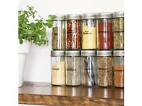 Set of 10 New Chrome Coloured Lids Refillable Clear Glass Spice Herbs Jars Holders.