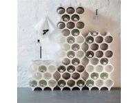 Koziol 8 x 8 Hole Honeycomb Solid Acrylic Wine Stacker Holder Rack - White
