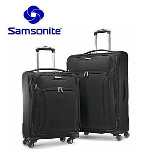OB SAMSONITE HILITE 2PC LUGGAGE SET 255302013 BLACK TWO SPINNERS 21 AND 27 SUITCASE OPEN BOX