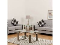 AVAILABLE NOW New oak or charcoal effect and glass Coffee Table SALE £69