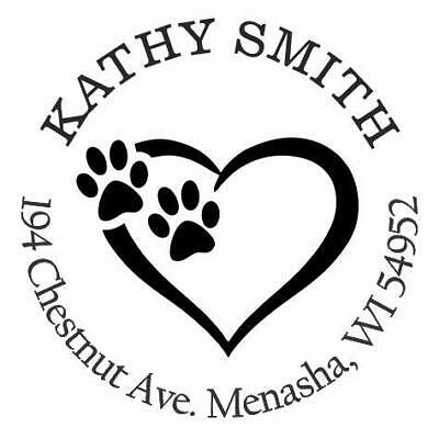 Paw Print Personalized Custom Return Address Self Inking Rubber Stamp E-7057