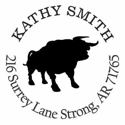 Bull Personalized Custom Return Address Self Inking Rubber Stamp E76026
