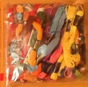 Bag of embroidery thread; mixed colours