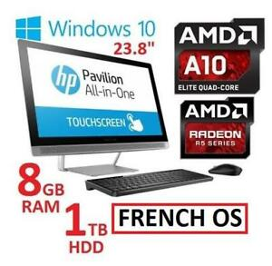 REFURB HP 23.8 AIO TOUCH DESKTOP PC 24-B019 147999945 AMD A10 9630P 8GB RAM 1TB HDD WIN 10 AMD R5 GPU