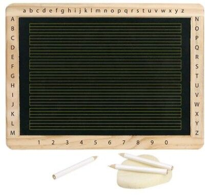 Schiefertafel aus Holz Kindertafel mit Kreide und Schwamm Alphabet und Zahlen
