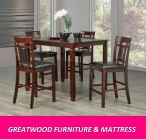 Solid wood 5 piece pub height dining set for $ 499