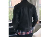 Leather bike jacket , crossover zip style