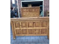 Solid pine double bed with bedside cabinets