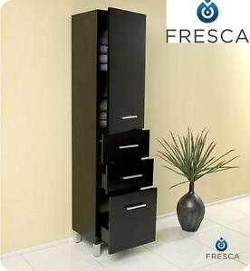 "NEW* FRESCA ESPRESSO LINEN CABINET - 116855573 - 15.75""W x 13.75""D x 68""H WITH 3 PULL OUT DRAWERS"