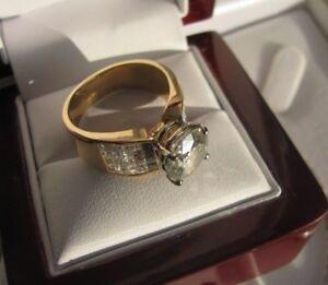 JAWDROPPER 5.25 CT Estate 18k Moissanite/ Diamond ring $15k Rare