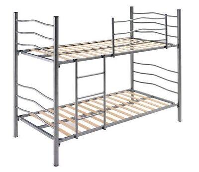 Litera Plus color plata con barandilla y escalera con somieres 90x190 NUEVA