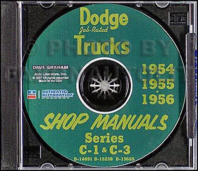 1954 1955 1956 Dodge Truck CD Shop Manual C1 C3 Pickup Panel Power Wagon Repair