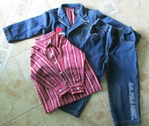 U.S. Polo Association Boys Size 3T Matching Jeans Jacket Shirt 3 Piece Set