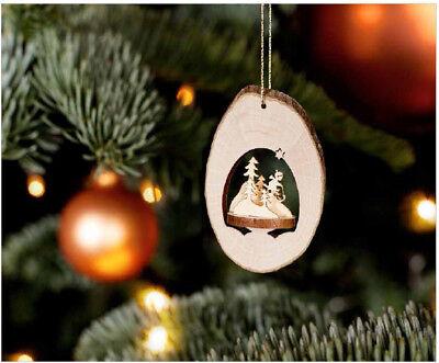 Wood Christmas Ornament, 3D Laser-cut Locket, Skier, from Germany Christmas Ornament Locket