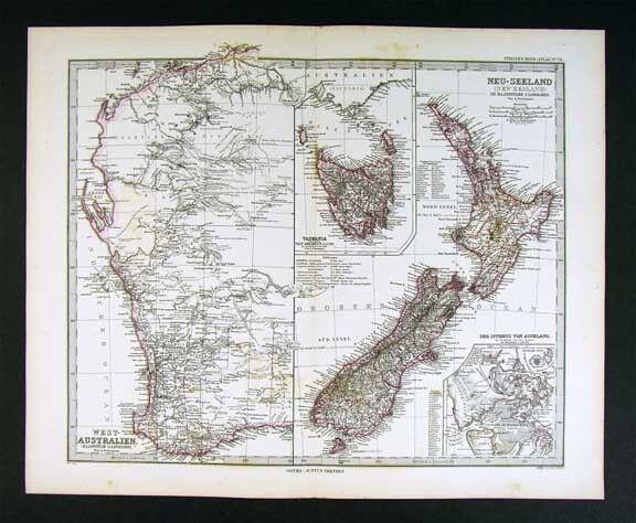 1882 Petermann Map New Zealand Tasmania West Australia