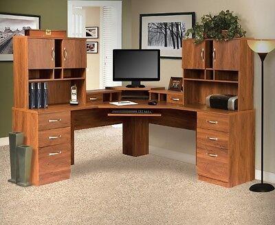 Oak L Workstation Dual Hutch Desk Workcenter Home Office Furniture Corner Desks