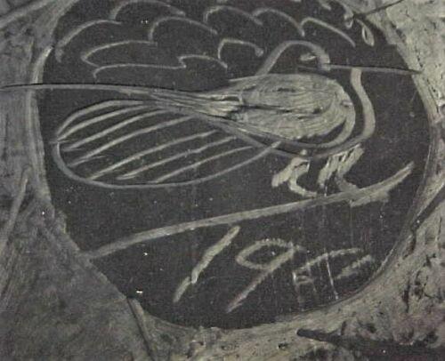 Vintage Santa Clara Pottery Bowl - 1961 - Bird Design - Pueblo Native