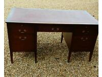 Mahogany red leather writing desk
