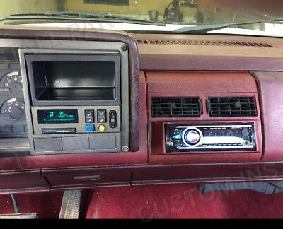 Radio Red Burgundy Single Din Dash Kit Pocket Bezel Fits Chevy GMC Trucks 88-94