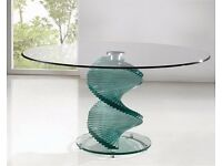 Giomani Designs Twirl Clear Glass Dining Table with Z Dining Chairs & Coffee Table
