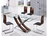 Xantos Glass 6/8 Seater Dining Table with Walnut and Chrome Base 180(l)x90(w)x76(h)cm